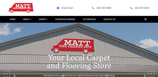 Matt The Carpet Guy - Since 2014, Bay Color has provided Website Design and hosting, Website SEO, Google Ranking, Google My Business, Graphic Design, and Facebook, Instagram, Twitter support.